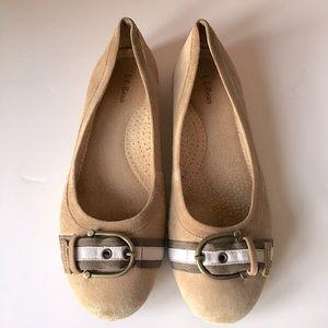 LL BEAN // round toe tan suede ballet flats 8.5M
